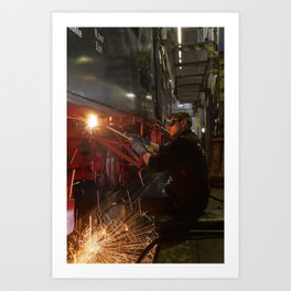 Welding works on a steam locomotive. Art Print