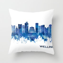 Wellington New Zealand Skyline Blue Throw Pillow