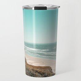 Beach Horizon   Teal Color Sky Ocean Water Waves Coastal Landscape Photograph Travel Mug