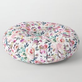 Hand painted blush pink purple watercolor floral Floor Pillow