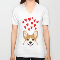 valentines V-neck T-shirts featuring Valentines - Love Corgi  by PetFriendly