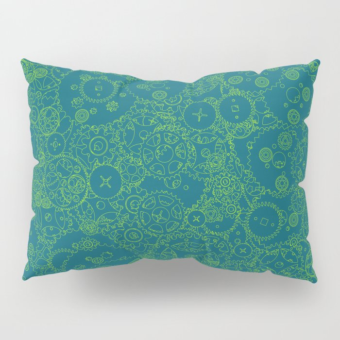 Clockwork Turquoise & Lime / Cogs and clockwork parts lineart pattern Pillow Sham