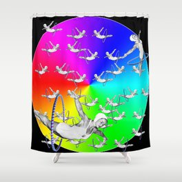 Synchronised Rainbow Hoop Divers Shower Curtain