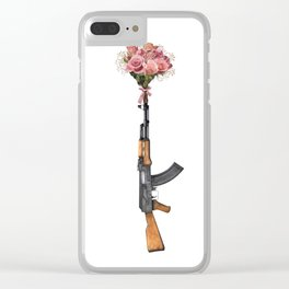 Guns and Flowers Clear iPhone Case