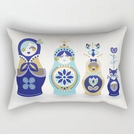 Russian Nesting Dolls – Blue & Gold Rectangular Pillow
