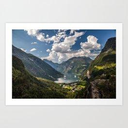 Geiranger Fjord Norway Mountains Art Print
