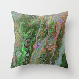 Green Inverted Pour 6 Throw Pillow