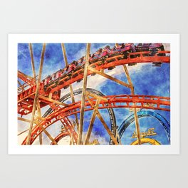 Fun on the roller coaster, close up Art Print