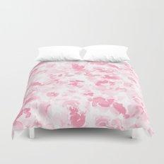 Abstract Flora Millennial Pink Duvet Cover