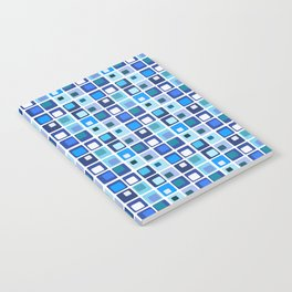 Retro Modern Blue Square Pattern Notebook