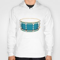 drum Hoodies featuring Drum - Red by Ornaart