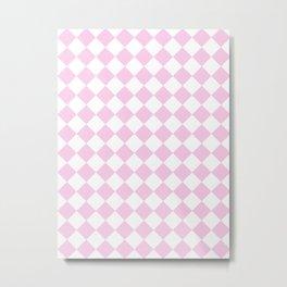 Diamonds - White and Classic Rose Pink Metal Print