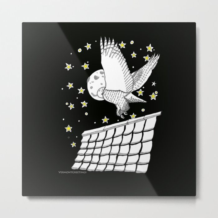 Zentangle Magical Messenger Owl Metal Print