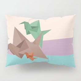 PAPER CRANES (Origami abstract birds animals nature) Pillow Sham
