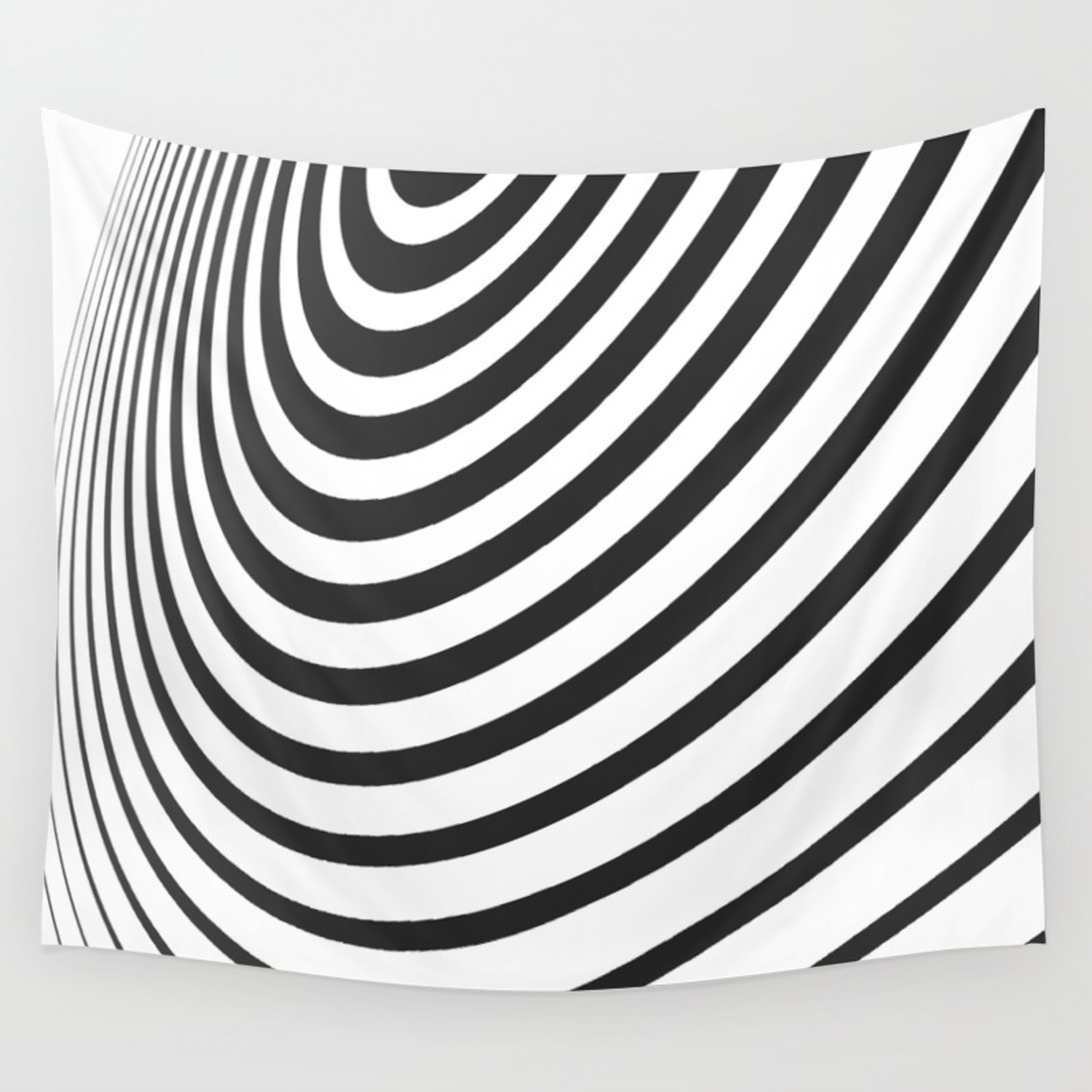 Black and white minimal 3d circle iii wall tapestry