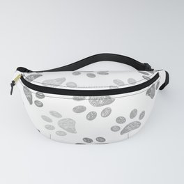 Black and grey paw print Fanny Pack