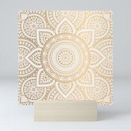 Gold Mandala Pattern Illustration With White Shimmer Mini Art Print