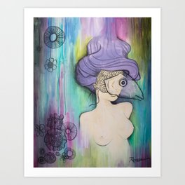 Woman in Mask Art Print