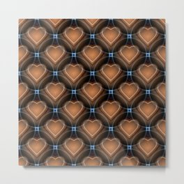 Heart pattern brown Metal Print