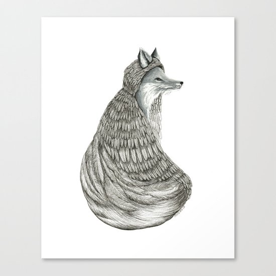 Fox- Feathered. Canvas Print
