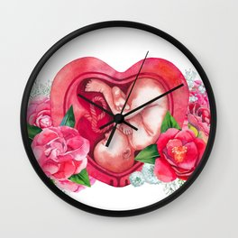 Watercolor fetus inside the womb Wall Clock