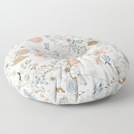 Abstract modern coral white pastel rustic floral Floor Pillow