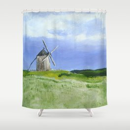 Windmill French Countryside Acrylics On Paper Shower Curtain