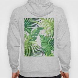 Green tropical leaves II Hoody