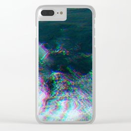Oceanic Glitches - Deep Green Clear iPhone Case