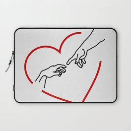 The creation of Adam- The hands of God and Adam within a red heart Laptop Sleeve