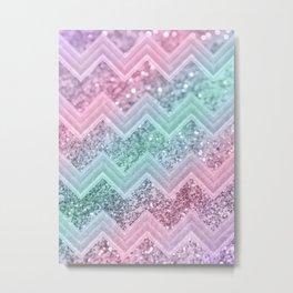 Mermaid Glitter Chevron #2 #shiny #pastel #decor #art #society6 Metal Print