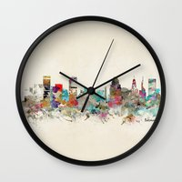 maryland Wall Clocks featuring baltimore maryland by bri.buckley