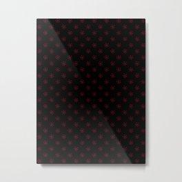 Burgundy Red on Black Snowflakes Metal Print
