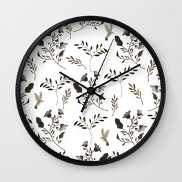 Bluebells and Bluebirds Floral Pattern Flowers in Blue and Bark Brown Wall Clock