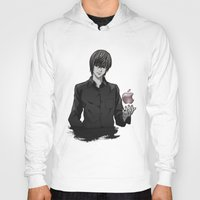 death note Hoodies featuring Light Yagami Kira Death Note apple by Cursed Rose