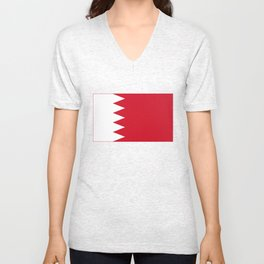The flag of the Kingdom of Bahrain - Authentic version Unisex V-Neck