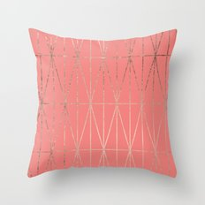 Modern geometric triangles faux rose gold coral pattern Throw Pillow