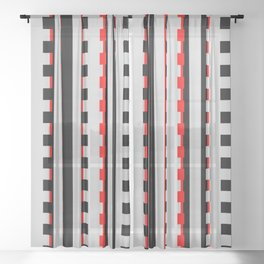 Rectangles Design red black Sheer Curtain