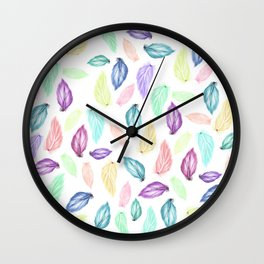 Modern colorful boho watercolor feathers hand painted pattern Wall Clock