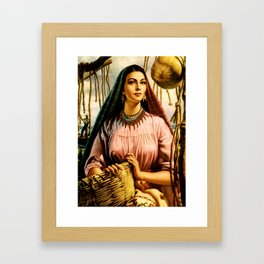 Jesus Helguera Painting of a Mexican Fisher Girl With Basket Framed Art Print