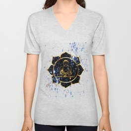 Gold funky Space Buddha Unisex V-Neck