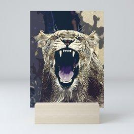 african lioness safari cat v2 vector art foggy night Mini Art Print