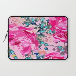 Pink floral work with some turquoise and yellow details Laptop Sleeve