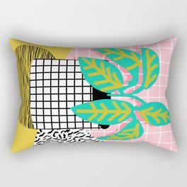 Get Real - potted plant throwback retro neon 1980s style art print minimal abstract grid lines shape Rectangular Pillow