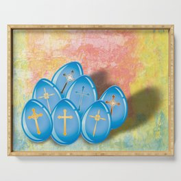 Blue eggs and crosses on pastel textured background Serving Tray