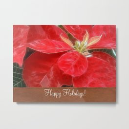 Mottled Red Poinsettia 1 Ephemeral Happy Holidays S1F1 Metal Print