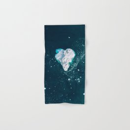 Heart of Winter - Aerial view of Icebergs in the arctic Ocean Hand & Bath Towel