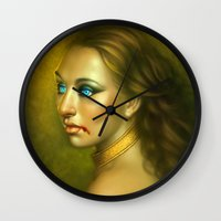 vampire Wall Clocks featuring Vampire by George Patsouras