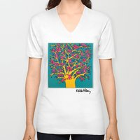 keith haring V-neck T-shirts featuring Keith Haring: The Tree of Monkeys by cvrcak