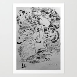 Map of the Nine Norse Worlds Art Print